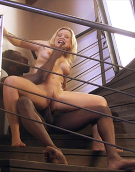 Kathy Gets Anal Sex in a Ladder with a Black Guy-10