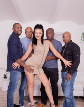 Hungry Brunette in a Gangbang with Four Black Studs-2