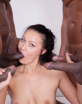 Hungry Brunette in a Gangbang with Four Black Studs-4