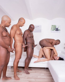 Hungry Brunette in a Gangbang with Four Black Studs-5