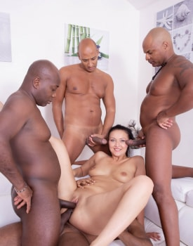 Hungry Brunette in a Gangbang with Four Black Studs-6