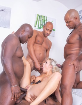 Blonde Nympho Takes on 4 Studs-7