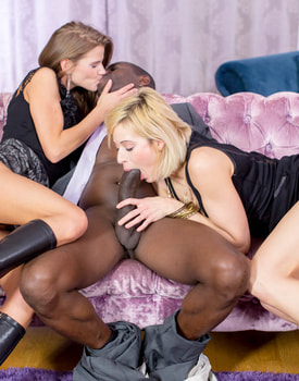 Sarah Kay and Ria Sunn in an interracial anal threesome-5