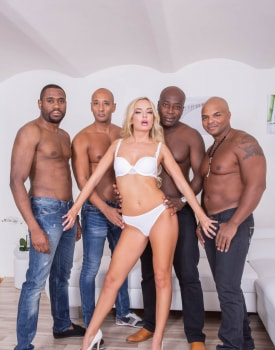 Horny Blonde Takes on Four Stallions-4