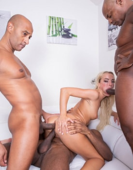 Horny Blonde Takes on Four Stallions-7