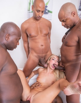 Horny Blonde Takes on Four Stallions-8