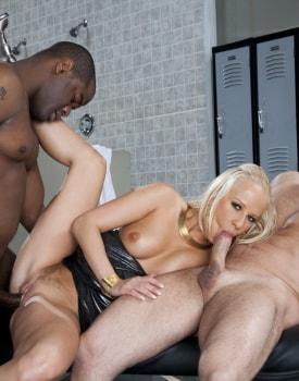 Interracial DP Threesome in the Locker Room-4