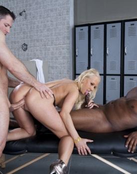 Interracial DP Threesome in the Locker Room-6